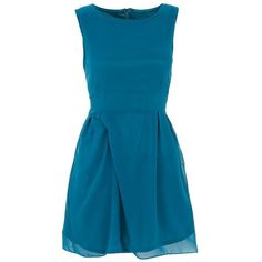 Tenki Teal Chiffon Tie Back Skater Dress ($35) ❤ liked on Polyvore featuring dresses, vestido, teal dress, fit and flare dress, blue chiffon dress, blue skater dress and teal blue dresses