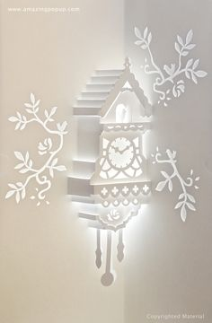 Exquisite Cuckoo Clock Pop-up card. Available now! www.amazingpopup.com/