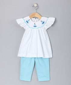 Love this White Sailboat Smocked Top & Aqua Pants - Infant on #zulily! #zulilyfinds