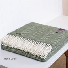 Wool Fishbone Olive Green Throw Tweedmill in with cream fringe, moss green in pure new wool Herringbone design weave Green Throw Pillows, Sofa Throw, Throw Blankets, Teak Dining Table, Living Room Green, Image House