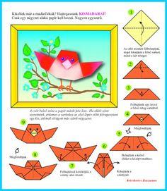 Origami egyszerűen - Képgaléria - Diagrammok - Hajtogass a macival! Simple kindergarden folds - Kismadár