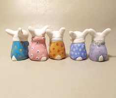 Collectible Bunnies Ceramic Thumb Bunny Miniature by jillatay