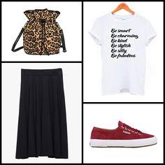 "Leopard #bag @pixiemarket ~~ ""Be"" #tee #ethnicville ~~ Midi #skirt @stradivariusfan ~~ Superga 2750 Sueu - Purple Red @supergaita ~~."