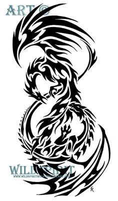 Here's 's completed tribal tattoo of a phoenix and a dragon. Inspired by this image: This design was created specifically for the commissioner's use only. If you would like a design custom created ...