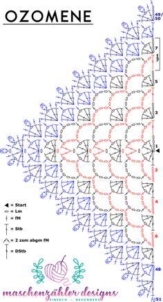 Crochet pattern Ozomene - crochet Crochet pattern Ozomene - crochet Record of Knitting String spinning, weaving and stitching jobs such as BC. Crochet Shawl Diagram, One Skein Crochet, Crochet Shawl Free, Crochet Chart, Crochet Scarves, Crochet Clothes, Crochet Lace, Crochet Stitches, Shawl Patterns