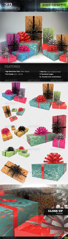 3D Presents Pack — Photoshop PSD #present #realistic • Available here → https://graphicriver.net/item/3d-presents-pack/5997099?ref=pxcr