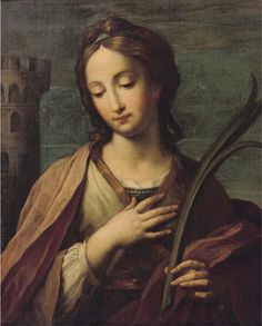 Saint Barbara - (after) Francesco Giovanni Gessi Santa Barbara, Santa Maria, Cades, Virgin Mary Art, Most Famous Paintings, Byzantine Icons, Oil Painting Reproductions, Blessed Mother, Sculpture