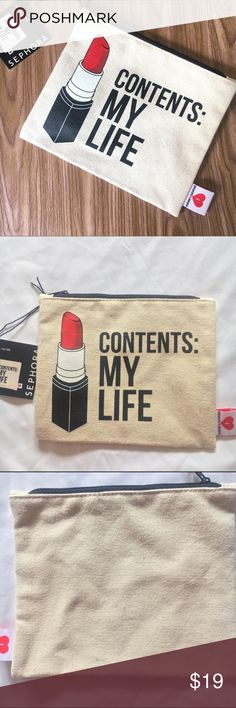 NWT Sephora Contents My Life Breakups to Makeup A fun, travel-friendly makeup clutch that holds all your beauty essentials and personal items. 8.5 x 8.75.   From quirky products to empowering slogans, Breakups to Makeup embraces the future and contends that no matter what happens in life, you can hold your chin-up and meet the horizon head on. Breakups to Makeup spreads the message that makeup is more than just a product; it is an art form.  These bags are vegan and cruelty-free. NWT. Comes…