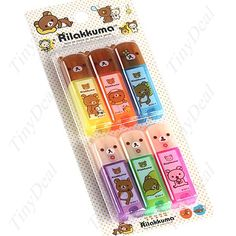 6 x Mini Colorful Fluorescent Pen Highlight Liquid Chalk Glass Marker Set- Bear Pattern for Children YSN-34218