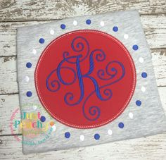 Circle Dot Monogram Frame Applique Embroidery Design