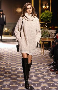 beige turtleneck sweater dress over the knee street style