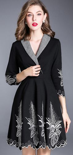 Vintage Turn Down Collar Embroidery Gathered Skater Dress