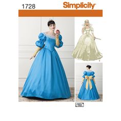 Misses' 16th century fairy tale gowns have basque bodice, back zipper, sleeve variations and optional standing collar. Dress B includes removable lower sleeves and back bow. Simplicity sewing pattern from Andrea Schewe.