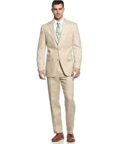 Free Two-Day Shipping Michael Kors Men`s 100% Linen Two Button Suit (42 Short x 35W) Michael Kors