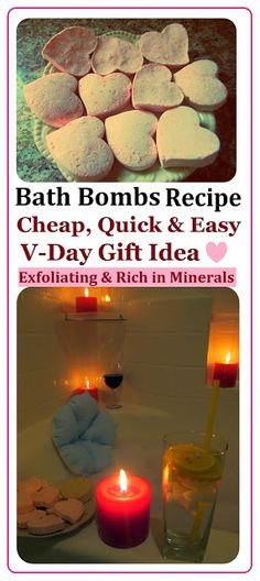 DIY spa Heart Bath Bombs Recipe, How to Make spa Products CHEAP, EASY & QUICK! More Spa DIYs on www.MariaSself.com Homemade Gift Idea