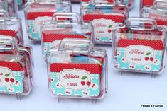 Fun party favors at a cherry themed birthday party! See more party planning ideas at CatchMyParty.com!