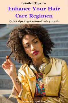 Natural hair care tips to help you have a better kinky and curly hair regimen. #curlyhair #kinkyhair #coilyhair #naturalhairregimen Natural Hair Care Tips, How To Grow Natural Hair, Natural Hair Regimen, Long Natural Hair, Curly Hair Tips, Natural Hair Growth, Natural Hair Styles, Hair Mask For Growth, Hair Growth Tips