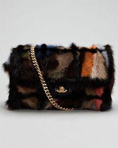 Chanel Multicolor Fur Flap Bag
