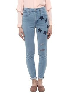 Star Patched Denim Ankle Length Skinny Fit Jeans Patched Denim, Skinny Fit Jeans, Ankle Length, Mom Jeans, Star, Pants, Fashion, Moda, Trousers