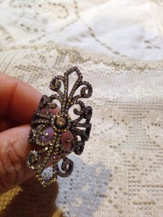 Vintage filigree Cubic Zirconia Crystal Gothic Sterling Silver ring by NemesisNYC on Etsy