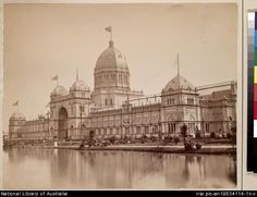 The Melbourne Exhibition Building had an impressive lake, 1880.
