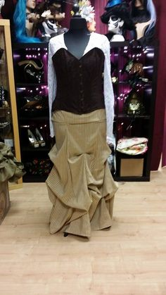 Pinstrie brownpintucked steampunk skirt
