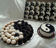 Yin Yang cake and cupcakes - for my 44th birthday