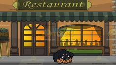A Guilty Looking Rottweiler With Outside A Fancy Restaurant Background :  A small dog with black and golden brown short fur droopy ears and short tail awkwardly curls down on the floor and Outside a restaurant during a starry night sky with pale orange walls beige bricks moss green awning and classic windows and doors silhouettes of people eating inside the restaurant are projected via the classy lighted window