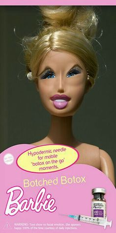 Botched Botox Barbie by Evelyn Davis. Lol this is funny Barbie Funny, Bad Barbie, Barbie And Ken, Barbie Humor, Funny Jokes, Hilarious, Funny Sayings, Sick, Barbie World