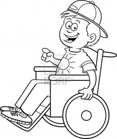Black and white illustration of a boy in a wheelchair Stock Photo