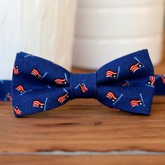 Mens US Flag Bow Tie - American flag bowtie - mens patriotic tie - USA - 4th of July bow tie - red cream blue tie - summer wedding - novelty Navy Blue Bow Tie, Navy Flag, Blue Flag, Blue Ties, Suspenders For Boys, Boys Bow Ties, Toddler Ties, Infant Toddler, Baby Boy Christmas