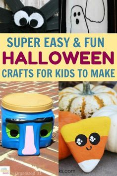 Whether you're planning a Halloween party or just want some ideas for your own family, you're going to love these fun Halloween Crafts For Kids To Make, Diy Halloween, Diy Crafts For Kids, Easy Crafts, Family Halloween, Halloween Games, Happy Halloween, Diy Home Crafts, Craft Stick Crafts