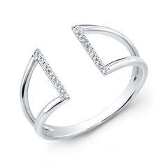 14KT White Gold Diamond Space Ring