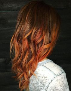 Copper Balayage For Brown Hair Brown Hair With Highlights, Brown Hair Colors, Purple Hair, Ombre Hair, Peekaboo Highlights, Purple Highlights, Violet Hair, Burgundy Hair, Cheveux Oranges