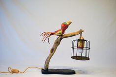 Paper maché lamp. Bird with birdcage lamp. Rusty birdcage lamp. Table lamp. Decoration.