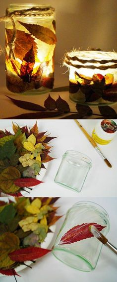 Sweet autumn DIY decor with leaves