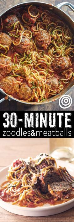 30 minute meals: one pot zoodles and meatballs recipe The beauty of using spiralized zucchini noodles as a healthy substitute for pasta is how QUICK FAST and EASY they are to cook. Fresh zoodles and frozen cooked meatballs means that you can make this Zucchini Noodle Recipes, Zoodle Recipes, Spiralizer Recipes, Veggie Recipes, Beef Recipes, Low Carb Recipes, Dinner Recipes, Cooking Recipes, Healthy Recipes