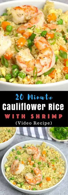 Shrimp Fried Cauliflower Rice -315 calories for 1/4 recipe.  low-carb, gluten-free, healthy and ready in 20 minutes. All you need are some simple ingredients: cauliflower, carrots, peas, shrimp, soy sauce, sesame oil and green onion. So good! #lowcarb #glutenfree Video recipe. tipbuzz.com