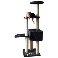 $94.99-$135.99 Trixie Alicante Cat Tree (Black/Cream) - The TRIXIE Alicante Cat Tree will provide endless opportunities for cats to play, explore, scratch or just relax.  Felines can sharpen their claws on any one of the six scratching posts instead of on your furniture or carpet, giving them a healthy outlet for their scratching instincts.  All posts are covered in durable sisal.  If a nap or pl ...