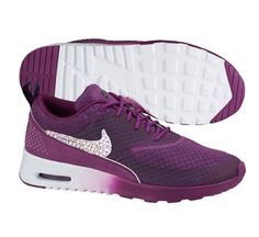 7810607145878b Custom Made Nike Air Max Thea with Swarovski Crystal Bling Swoosh Club  Purple White Hotroshes Glitter Sneakers 2015 Sale