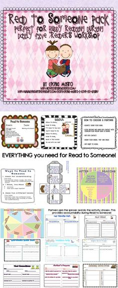 This pack is perfect for providing accountability during Read to Someone.  Partners have comprehension activities to do after reading.  Great for fostering relationships as it is jointly completed.