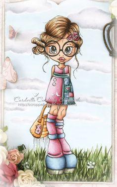Cardville- Cards by Elizabeth ~:   Hud: E13-11-21-000, R20 til kinn. Øyne: B99-95-91 Hår: E29-25-21, E49 Rosa: E89-85-83-81, V000 Turkis: BG75-72-70, og en egenlaget farge BG71 (blandet i en tom tusj med refill av BG70 og 72) På kjolen: BG15-13-11-10-09 Veske: YR24-23-21-20, E35 Himmel: B000, BG0000, B00-01, C01-00 Gress: G99-94-82-46-43-40, YG07 Jeg har også brukt Copic Opaque White til blomstene i gresset og noen streker for å skape litt mer liv.