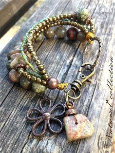 Chunky Beaded Bracelet, Stone Nature Bracelet, Ethnic Boho Jewerly on Etsy, $32.00: