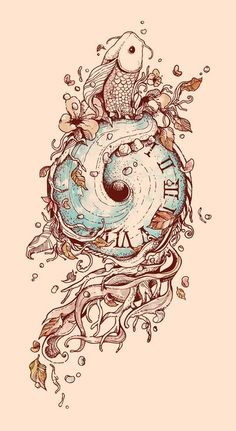 A Temporal Existence by Norman Duenas. Love that the clock face is made out of what surrounds it. Possible idea for my Alice tattoo