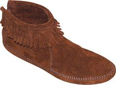 Minnetonka Back Zipper Boot Softsole - Brown Suede with FREE Shipping & Returns. Women's Ankle Hi Fringe Boots: Back Zipper Boot features smooth leather and decorative fringe.Cut