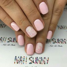 55 Simple And Elegant Dip Powder Nails Design 2019 - Hairstyles for Women - Ongles d'hiver Ongles En Gel Rose Pale, Pale Pink Nails, Pink Powder Nails, Pink Shellac Nails, Pink Glitter Nails, Light Pink Nails, Acrylic Nails, Blush Nails, Pink Manicure