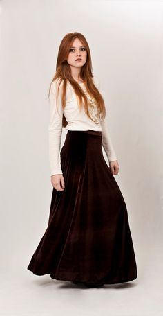 Velvet maxi skirt, brown flowing skirt, musthave maxi skirt. $78.00, via Etsy.