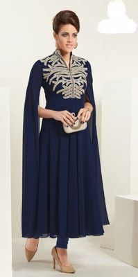 Designer Top:atisundar classy Faux Georgette Designer Party Wear Top in Embroidered Faux Georgette in Navy Blue - 11617 Bollywood Outfits, Party Wear Kurtis, Indian Wedding Wear, A Line Kurta, Indian Ethnic Wear, How To Dye Fabric, Fashion Kids, Types Of Sleeves, How To Wear