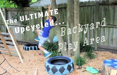 Give your kids an inexpensive and awesome backyard play area with this outdoor play area design and upcycled accessories ~ Viral Upcycle