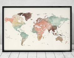 large world map poster, Detail world map print, travel map, world map with countries names and borders, office decor, ArtPrintsVicky.